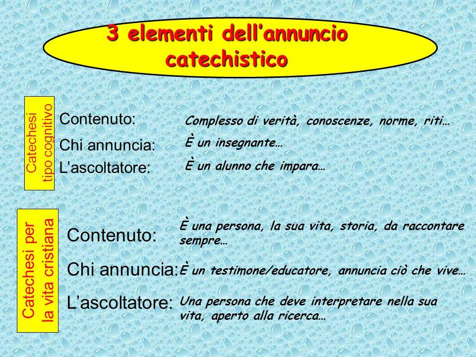 3 elementi dell'annuncio catechistico
