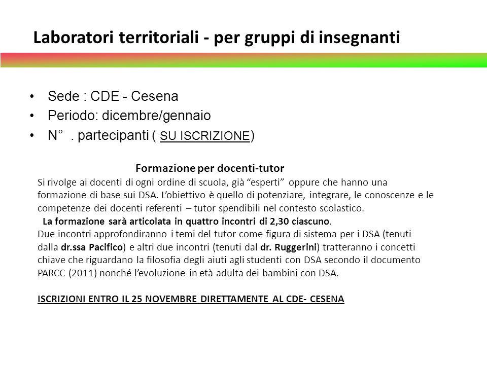 Laboratori territoriali - per gruppi di insegnanti
