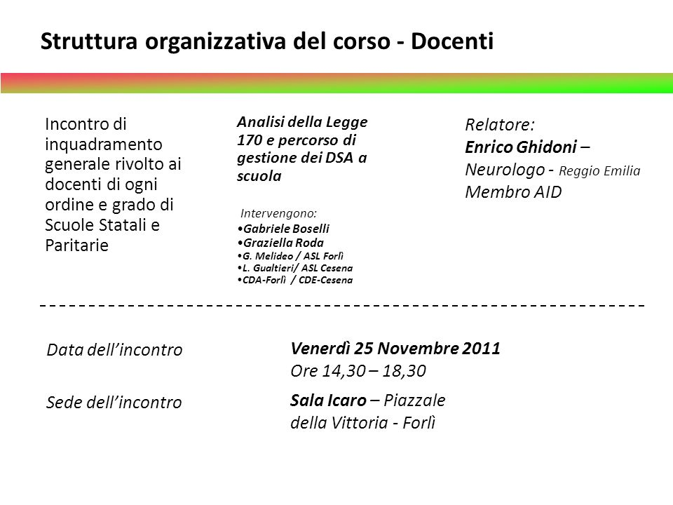 Struttura organizzativa del corso - Docenti