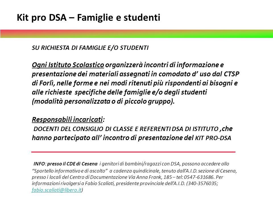 Kit pro DSA – Famiglie e studenti