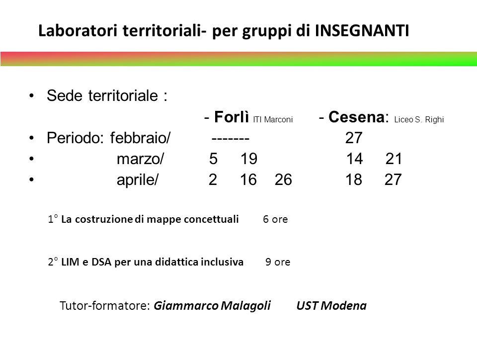 Laboratori territoriali- per gruppi di INSEGNANTI