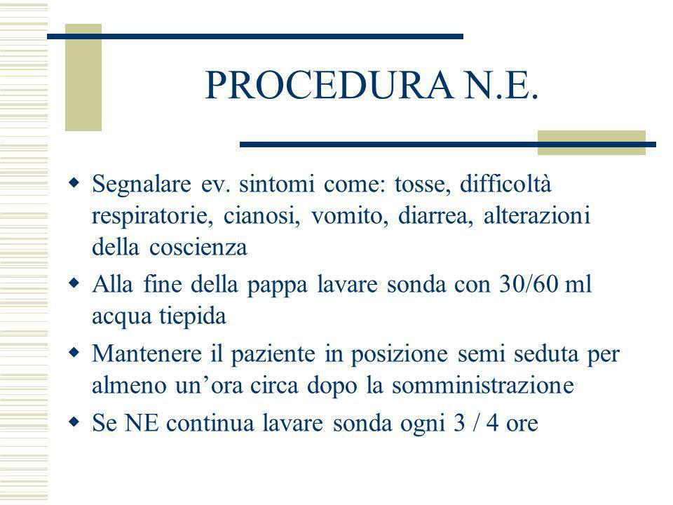 PROCEDURA N.E. Segnalare ev. sintomi come: tosse, difficoltà respiratorie, cianosi, vomito, diarrea, alterazioni della coscienza.