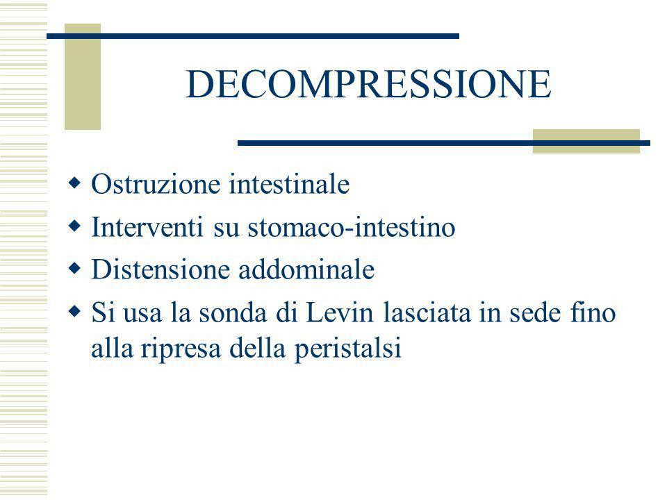 DECOMPRESSIONE Ostruzione intestinale Interventi su stomaco-intestino