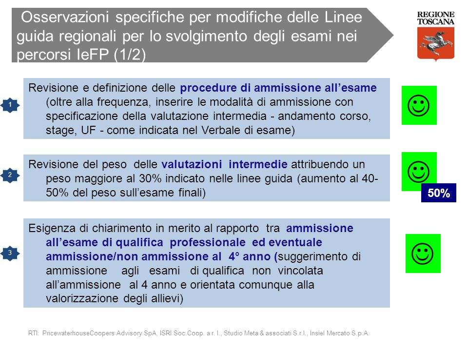 Osservazioni specifiche per modifiche delle Linee guida regionali per lo svolgimento degli esami nei percorsi IeFP (1/2)