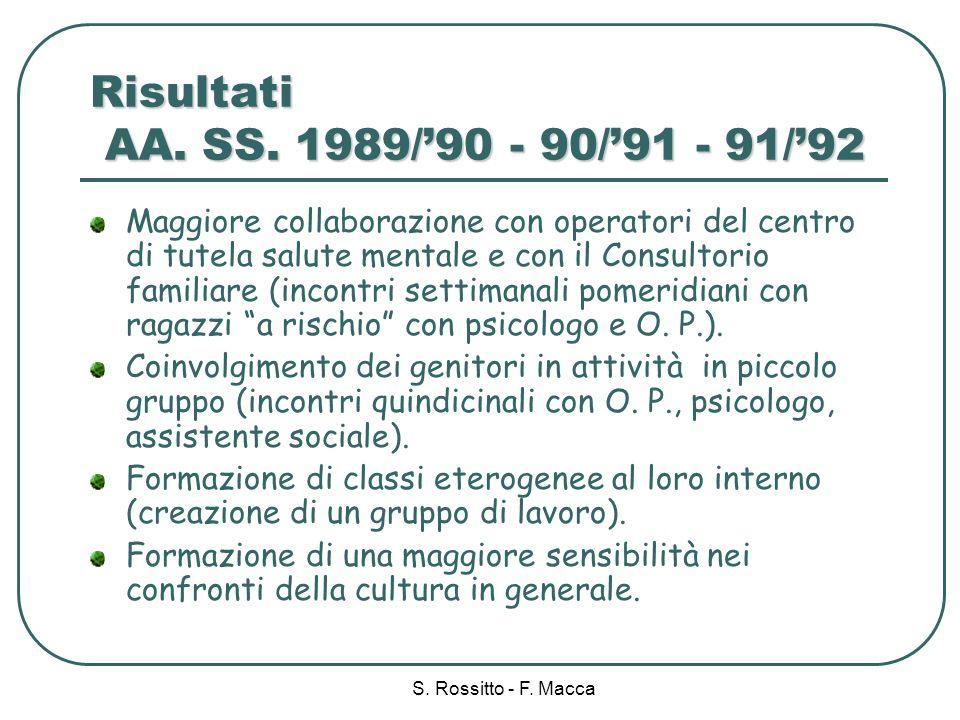 Risultati AA. SS. 1989/'90 - 90/'91 - 91/'92