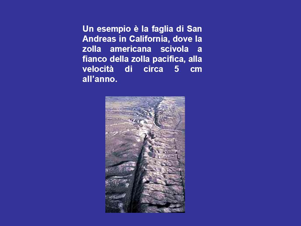 Un esempio è la faglia di San Andreas in California, dove la zolla americana scivola a fianco della zolla pacifica, alla velocità di circa 5 cm all'anno.