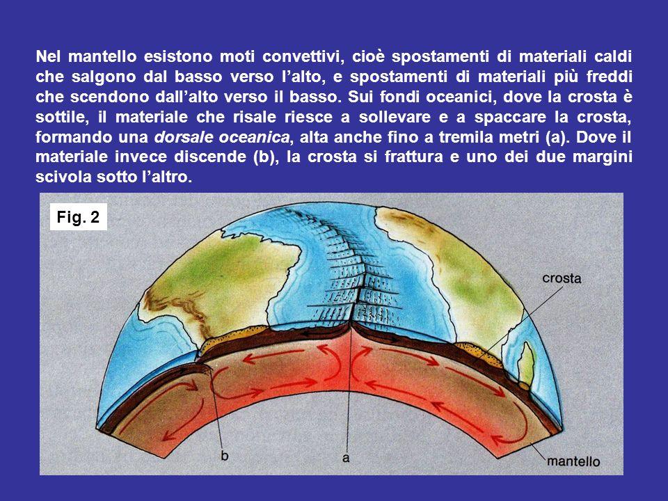 Nel mantello esistono moti convettivi, cioè spostamenti di materiali caldi che salgono dal basso verso l'alto, e spostamenti di materiali più freddi che scendono dall'alto verso il basso. Sui fondi oceanici, dove la crosta è sottile, il materiale che risale riesce a sollevare e a spaccare la crosta, formando una dorsale oceanica, alta anche fino a tremila metri (a). Dove il materiale invece discende (b), la crosta si frattura e uno dei due margini scivola sotto l'altro.