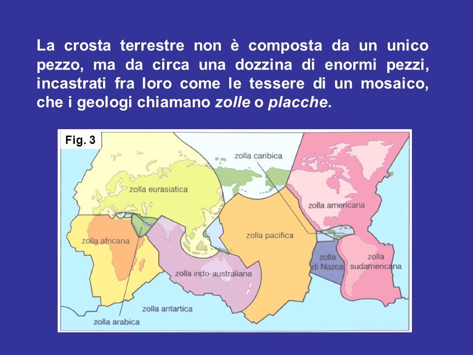 La crosta terrestre non è composta da un unico pezzo, ma da circa una dozzina di enormi pezzi, incastrati fra loro come le tessere di un mosaico, che i geologi chiamano zolle o placche.