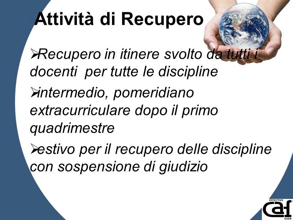 Attività di Recupero Recupero in itinere svolto da tutti i docenti per tutte le discipline.