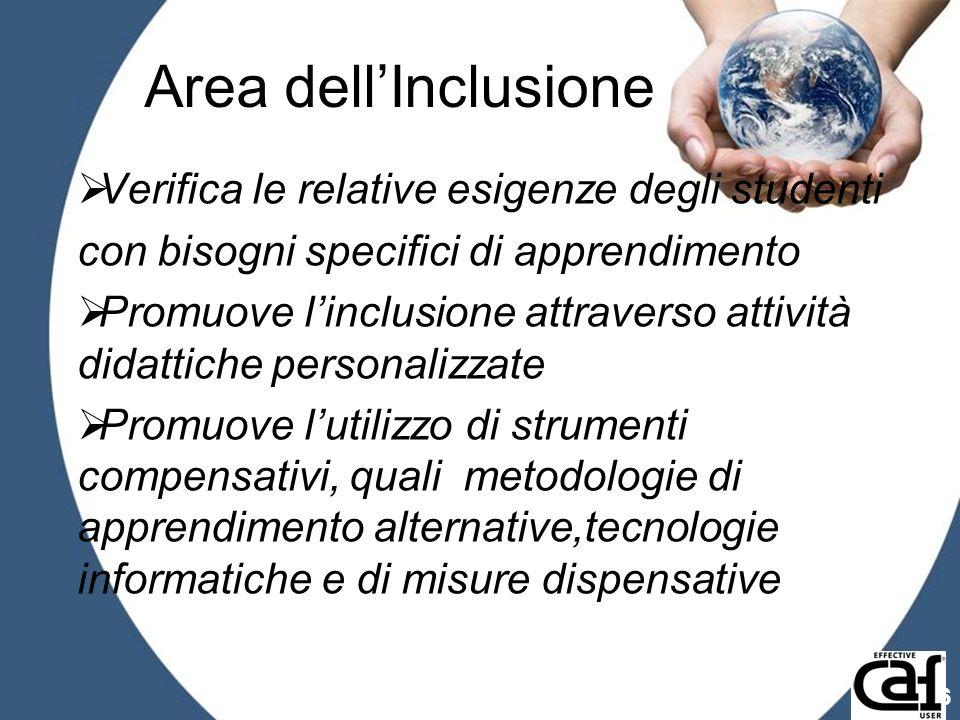 Area dell'Inclusione Verifica le relative esigenze degli studenti