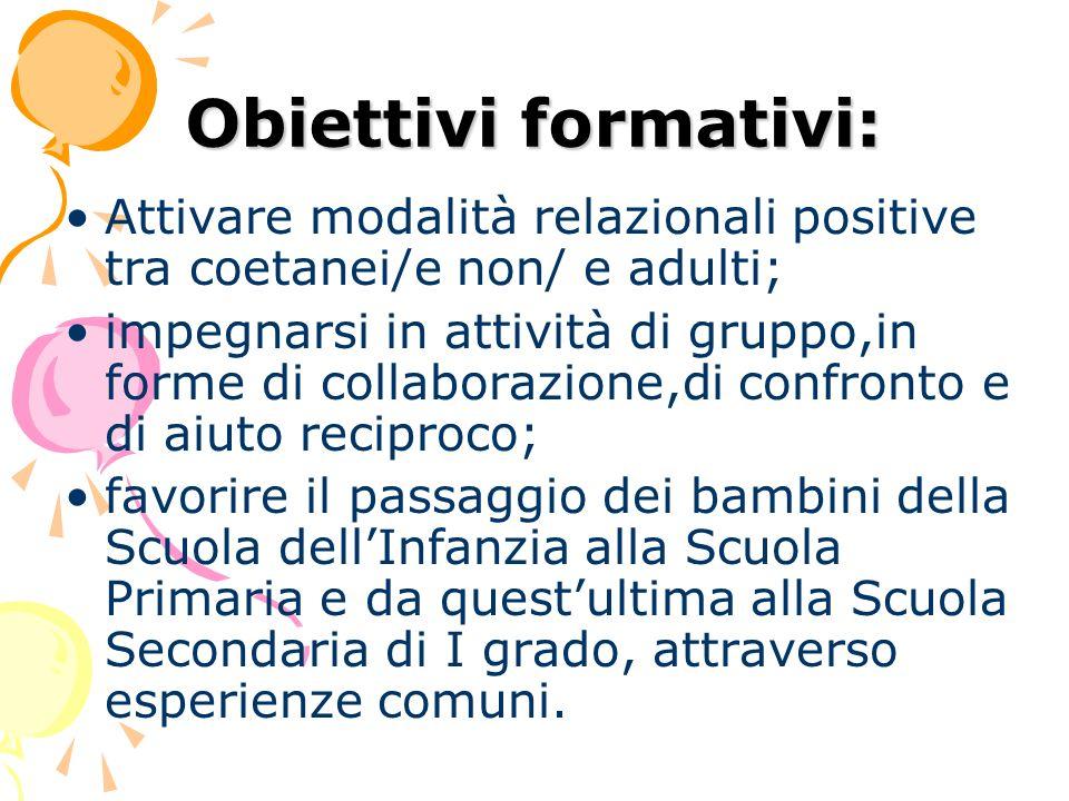 Obiettivi formativi: Attivare modalità relazionali positive tra coetanei/e non/ e adulti;