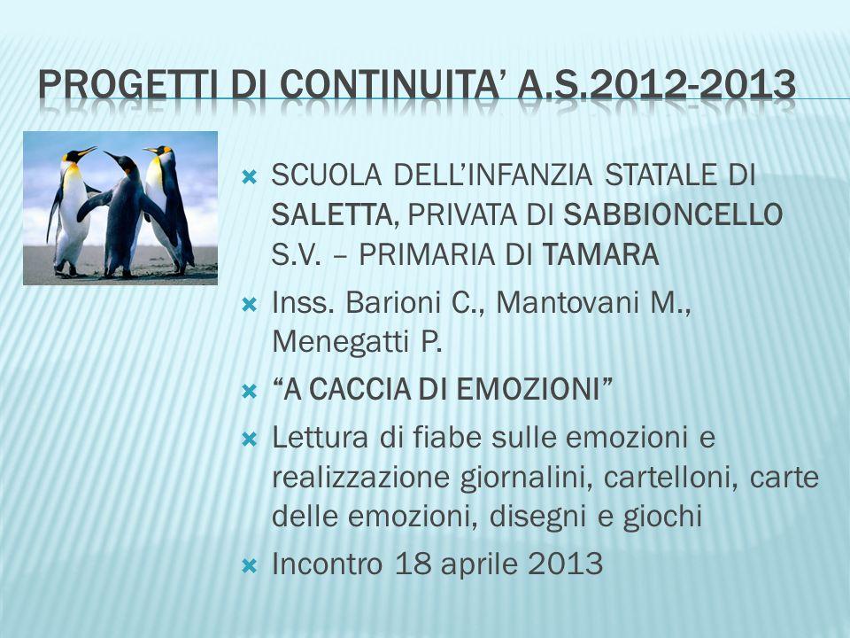Progetti di continuita' a.s.2012-2013