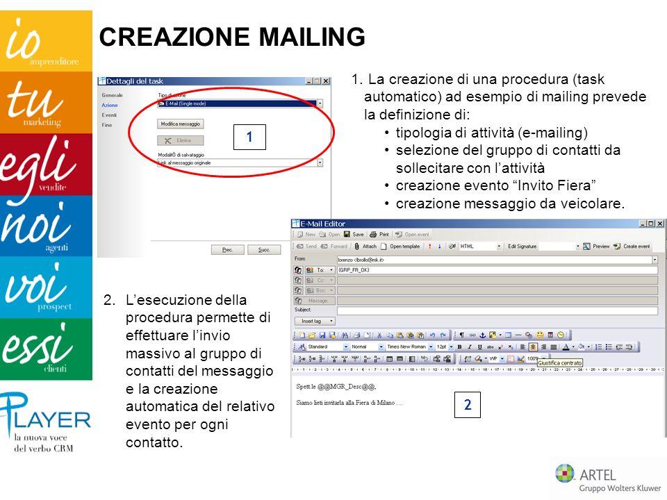CREAZIONE MAILING La creazione di una procedura (task automatico) ad esempio di mailing prevede la definizione di: