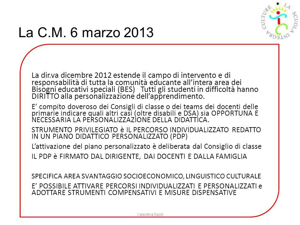 La C.M. 6 marzo 2013