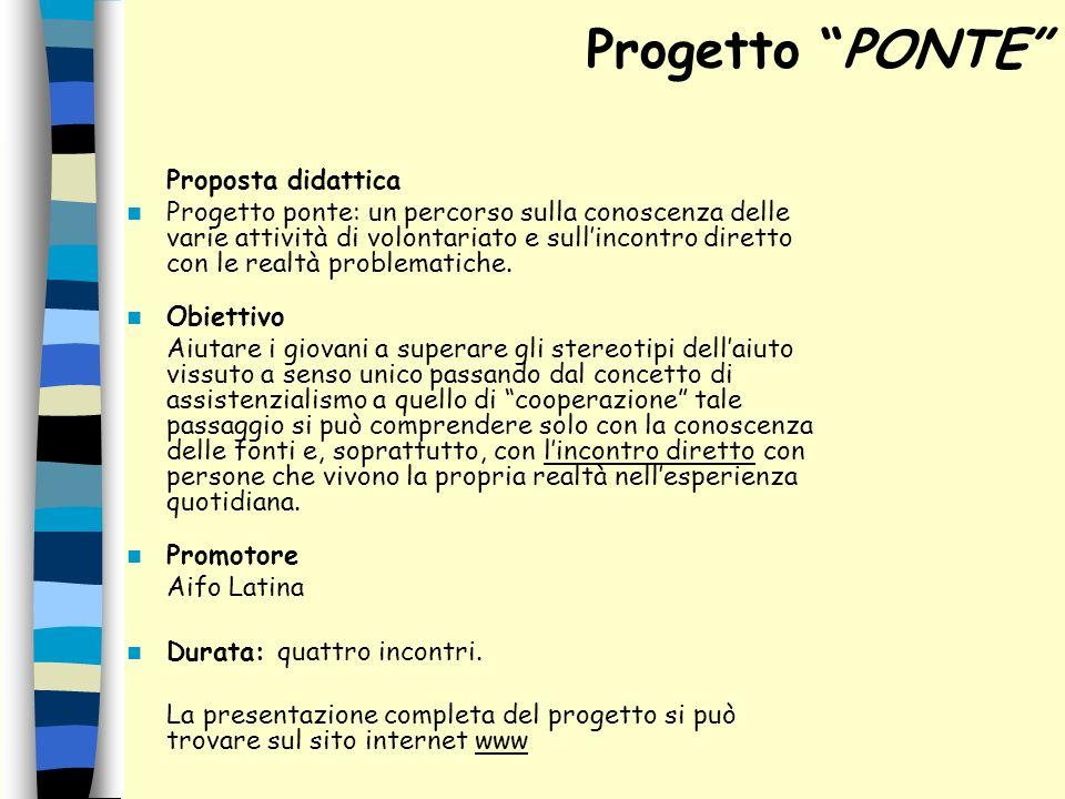 Progetto PONTE Proposta didattica.