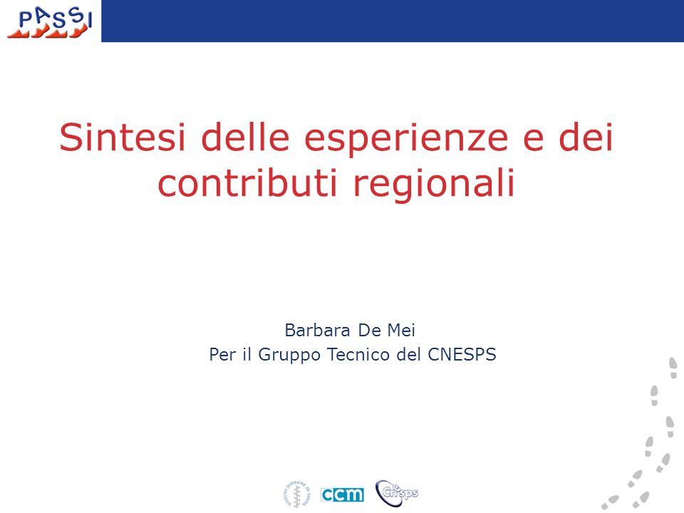 Sintesi delle esperienze e dei contributi regionali