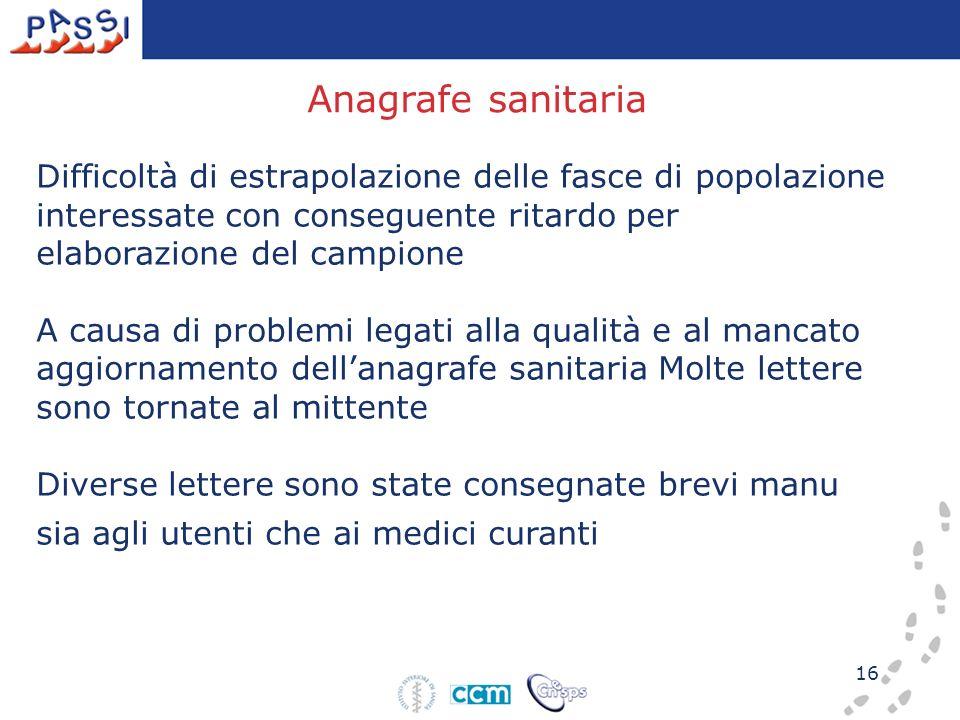 Anagrafe sanitaria Difficoltà di estrapolazione delle fasce di popolazione interessate con conseguente ritardo per elaborazione del campione.