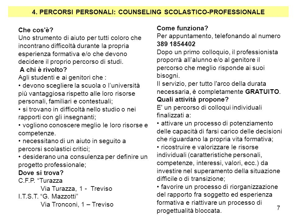 4. PERCORSI PERSONALI: COUNSELING SCOLASTICO-PROFESSIONALE