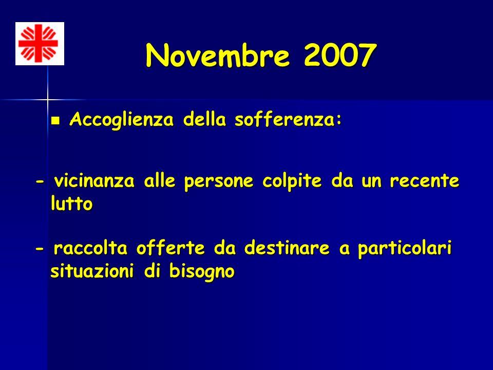 Novembre 2007 Accoglienza della sofferenza: