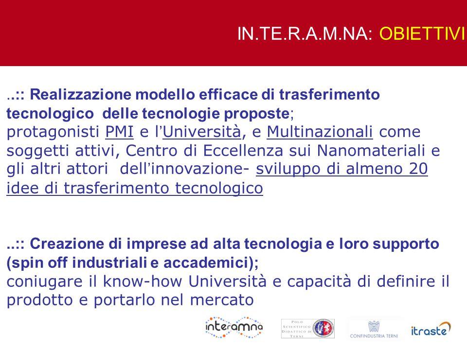 IN.TE.R.A.M.NA: OBIETTIVI..:: Realizzazione modello efficace di trasferimento tecnologico delle tecnologie proposte;