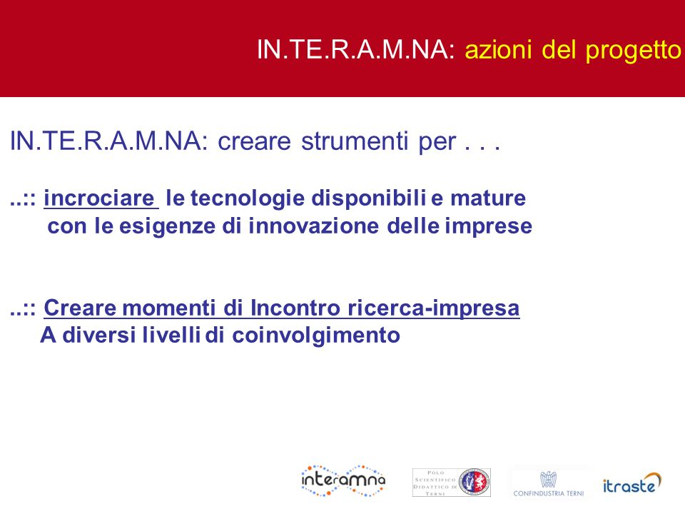 IN.TE.R.A.M.NA: azioni del progetto