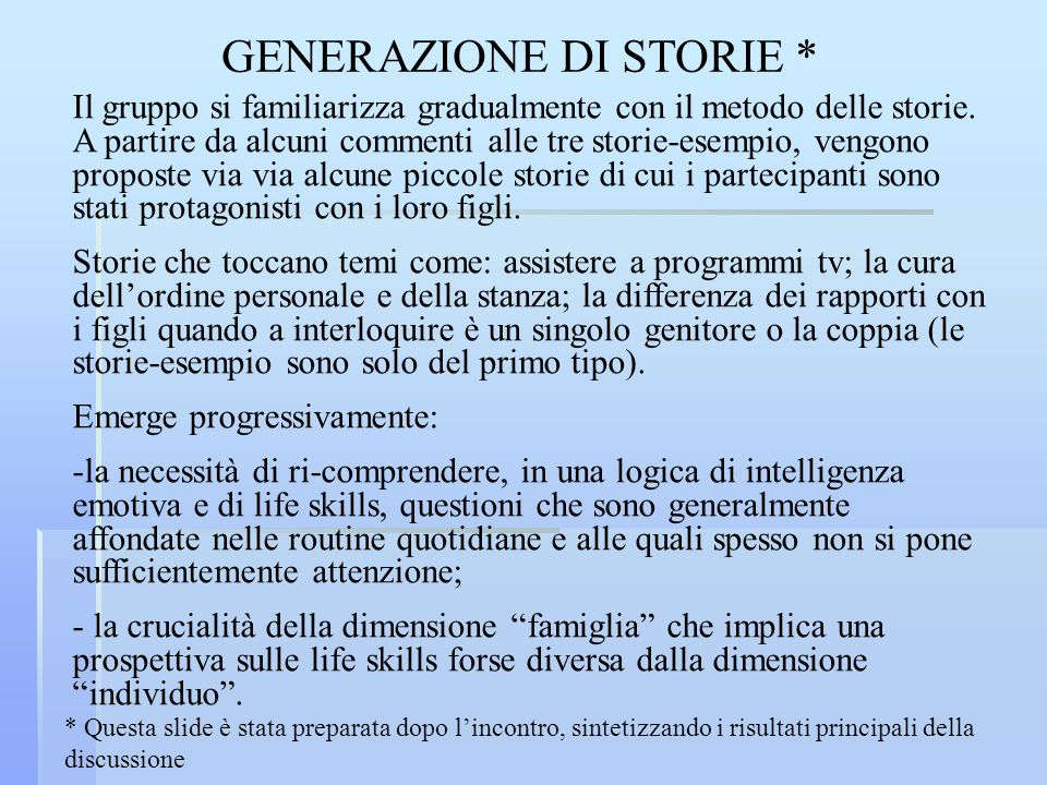 GENERAZIONE DI STORIE *