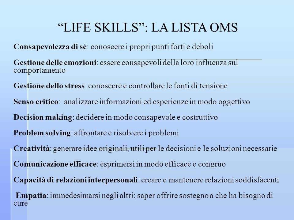 LIFE SKILLS : LA LISTA OMS