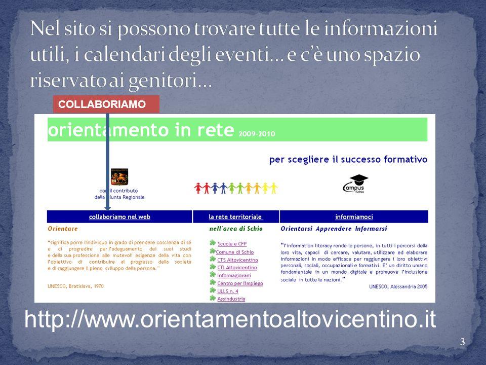 Nel sito si possono trovare tutte le informazioni utili, i calendari degli eventi… e c'è uno spazio riservato ai genitori…