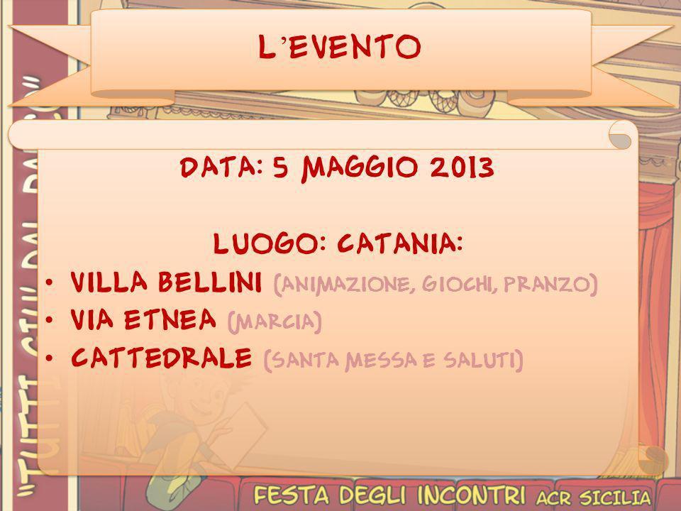 L'EVENTO Data: 5 maggio 2013 Luogo: Catania: