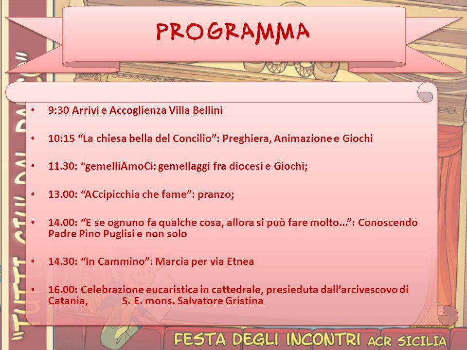 PROGRAMMA 9:30 Arrivi e Accoglienza Villa Bellini