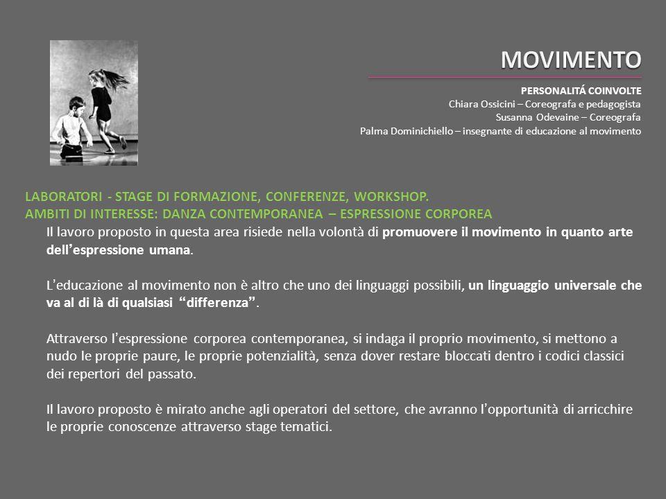 MOVIMENTO PERSONALITÁ COINVOLTE. Chiara Ossicini – Coreografa e pedagogista. Susanna Odevaine – Coreografa.