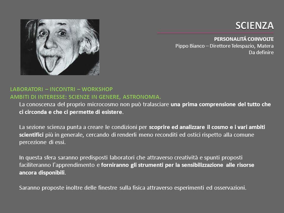 SCIENZA PERSONALITÁ COINVOLTE. Pippo Bianco – Direttore Telespazio, Matera. Da definire.