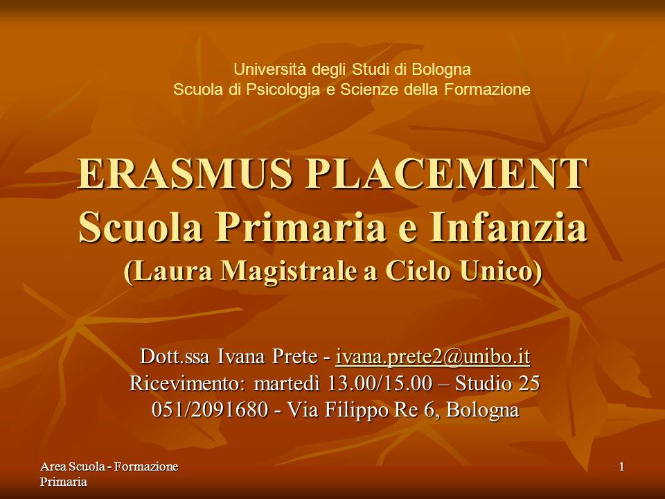 Università degli Studi di Bologna Scuola di Psicologia e Scienze della Formazione