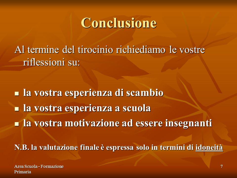 Conclusione Al termine del tirocinio richiediamo le vostre riflessioni su: la vostra esperienza di scambio.
