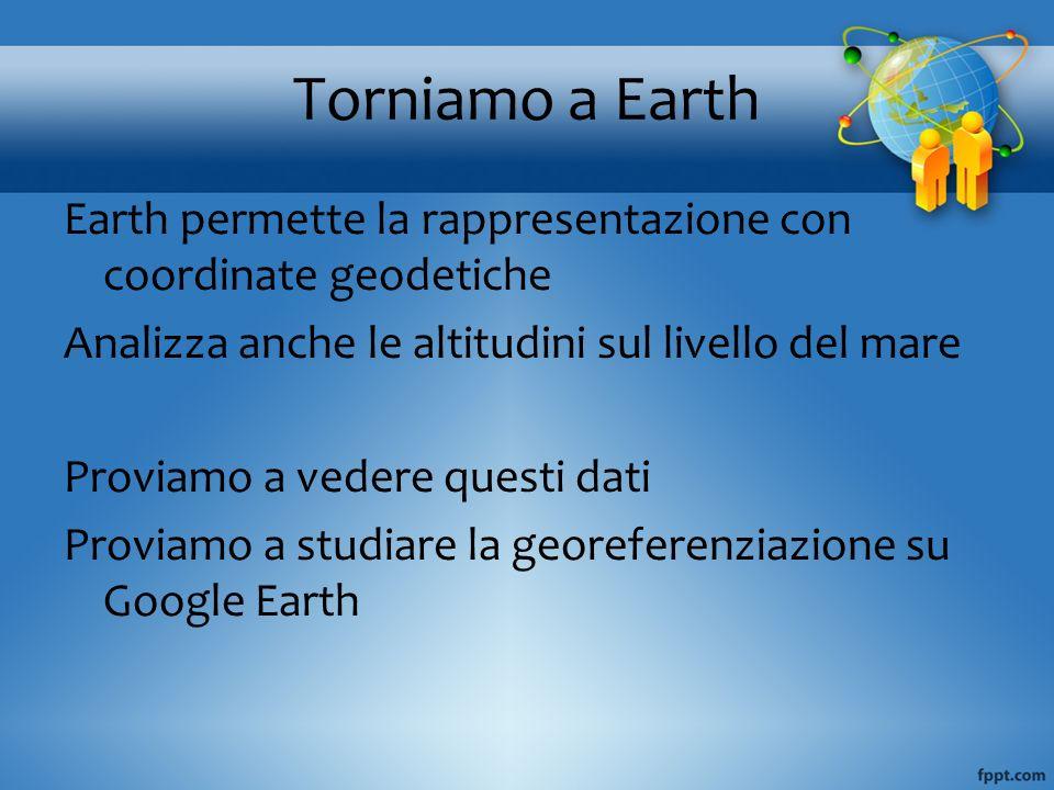 Torniamo a EarthEarth permette la rappresentazione con coordinate geodetiche. Analizza anche le altitudini sul livello del mare.