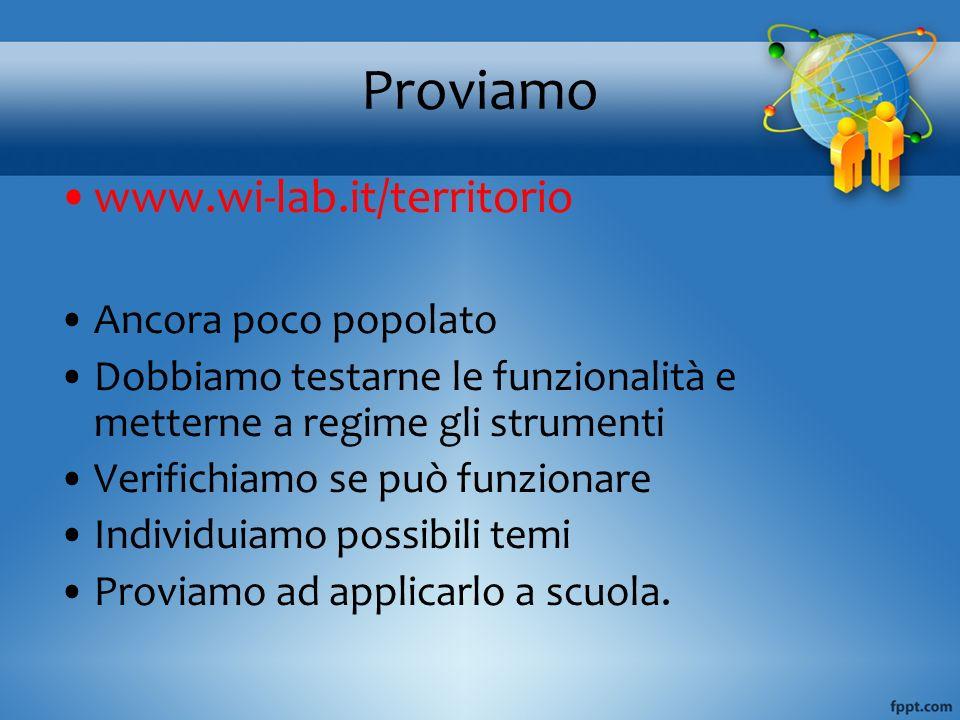 Proviamo www.wi-lab.it/territorio Ancora poco popolato
