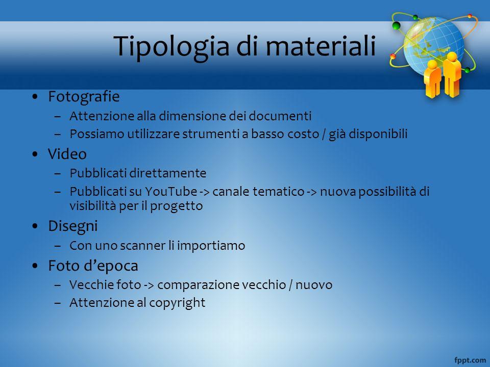 Tipologia di materiali