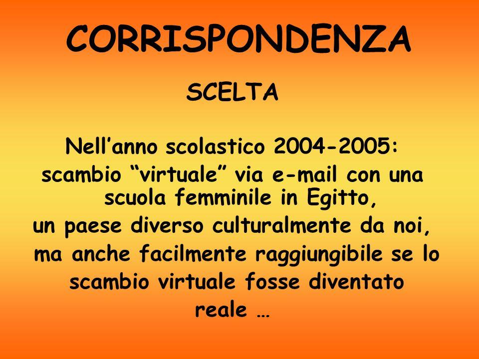CORRISPONDENZA SCELTA Nell'anno scolastico 2004-2005: