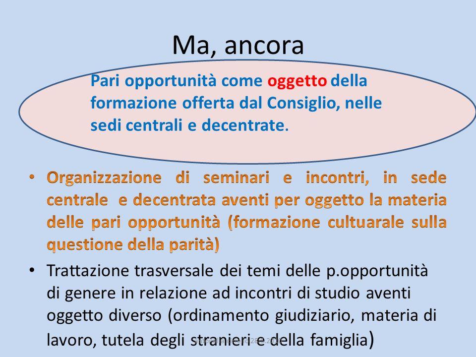 Organizzazione di seminari e incontri, in sede centrale e decentrata aventi per oggetti la materia delle pari opportunità.