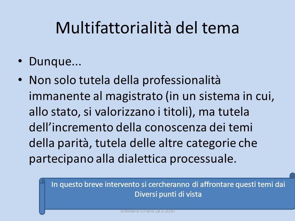 Multifattorialità del tema