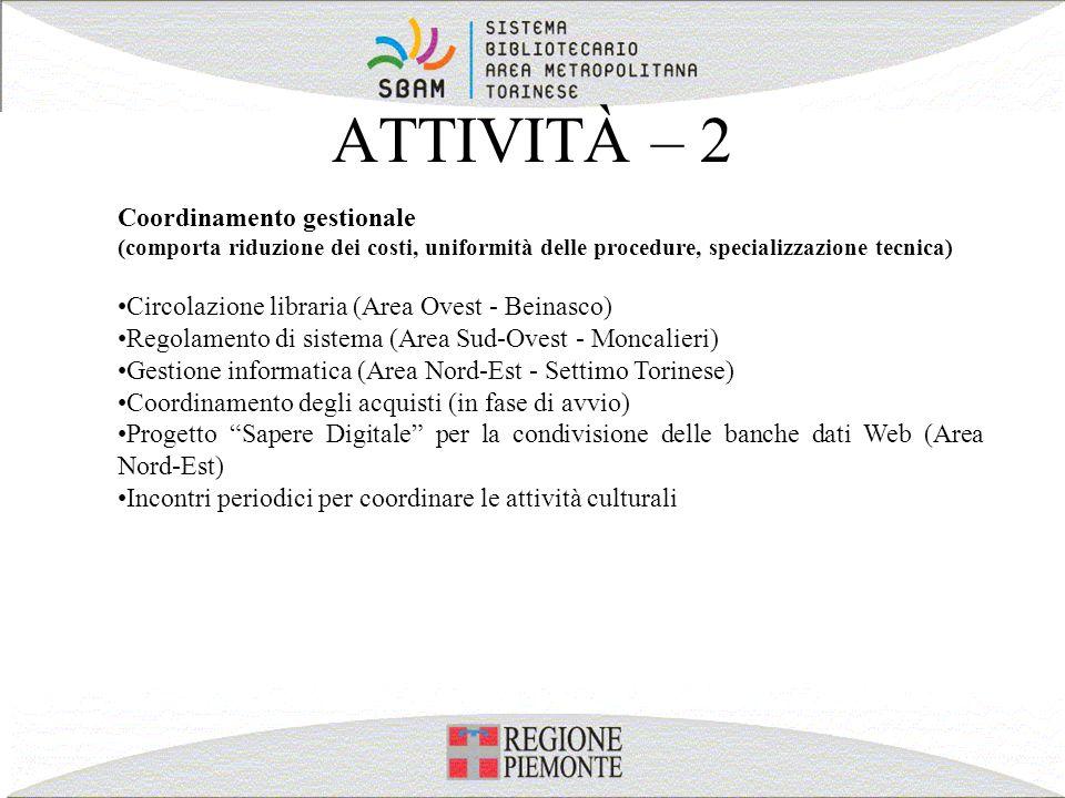 ATTIVITÀ – 2 Coordinamento gestionale