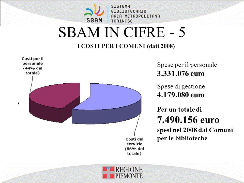 I COSTI PER I COMUNI (dati 2008)