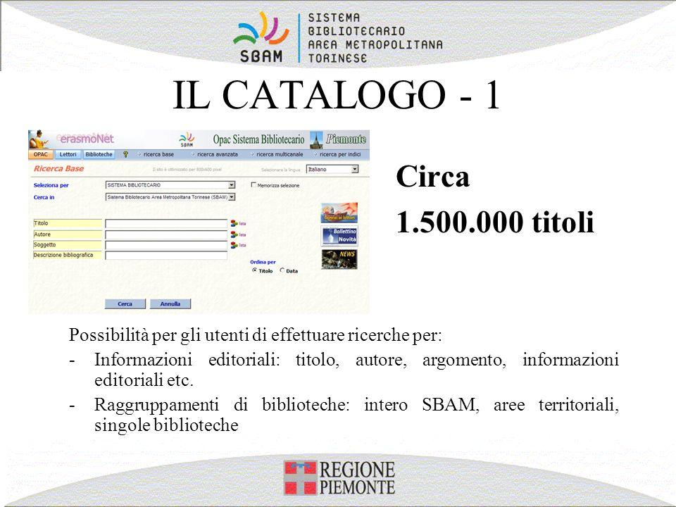 IL CATALOGO - 1 Circa 1.500.000 titoli