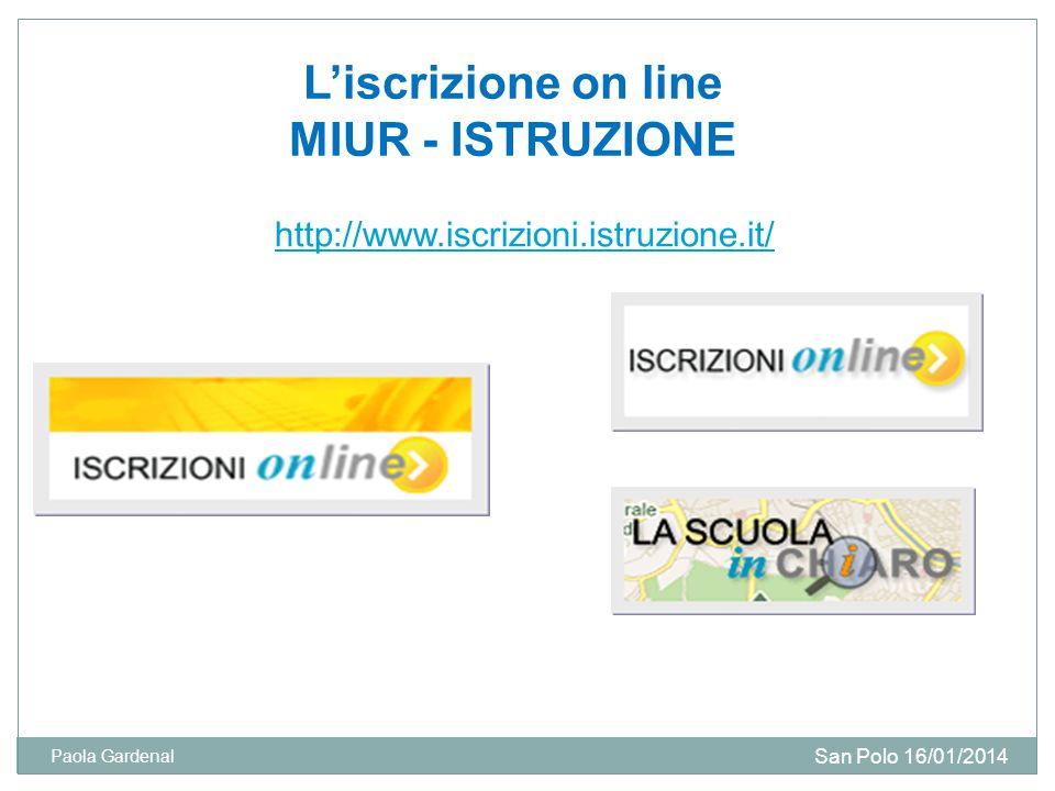 L'iscrizione on line MIUR - ISTRUZIONE
