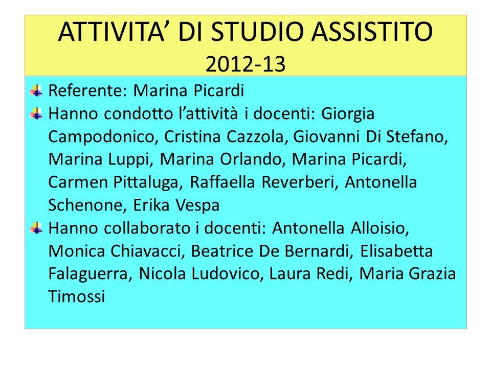 ATTIVITA' DI STUDIO ASSISTITO 2012-13