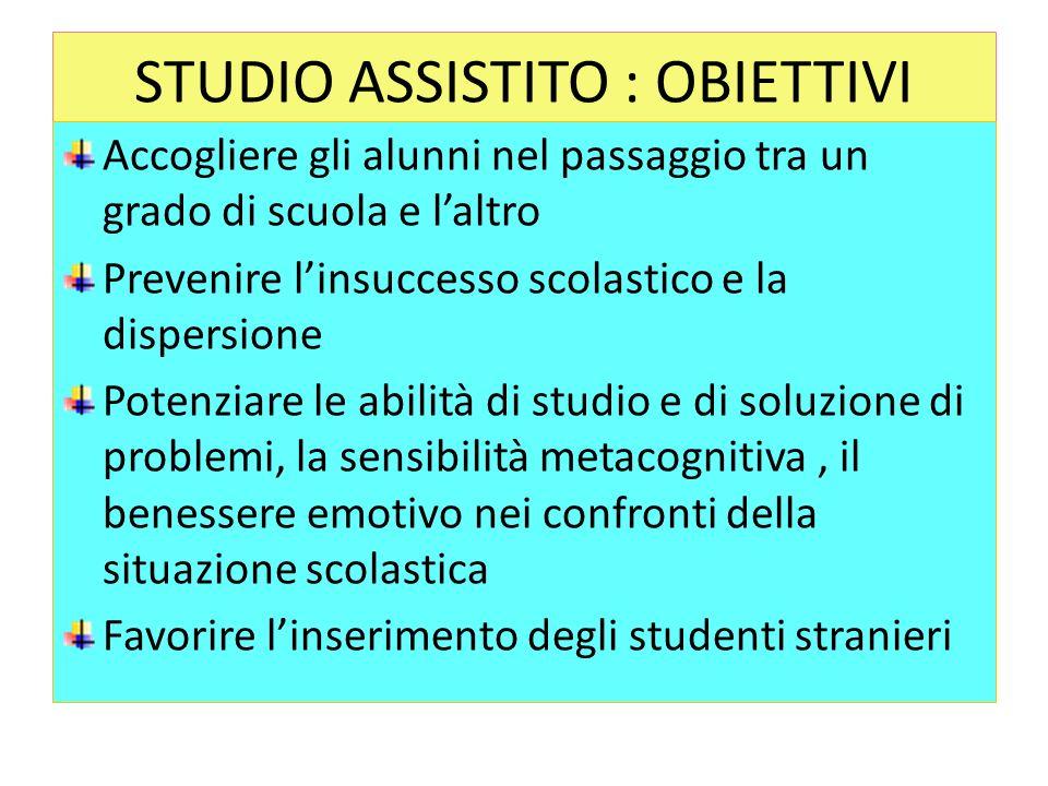 STUDIO ASSISTITO : OBIETTIVI