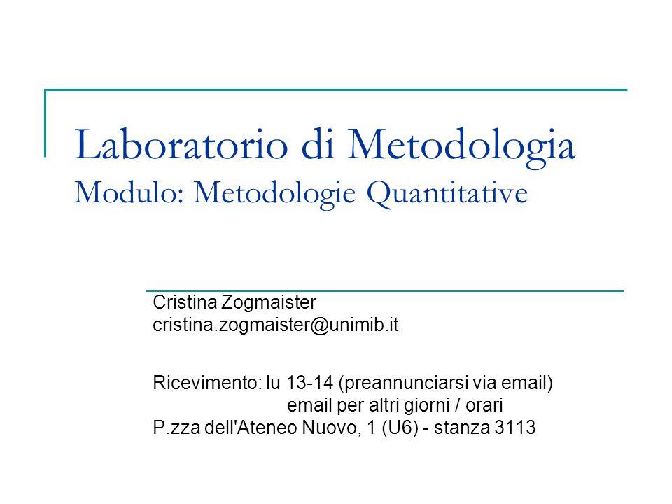 Laboratorio di Metodologia Modulo: Metodologie Quantitative