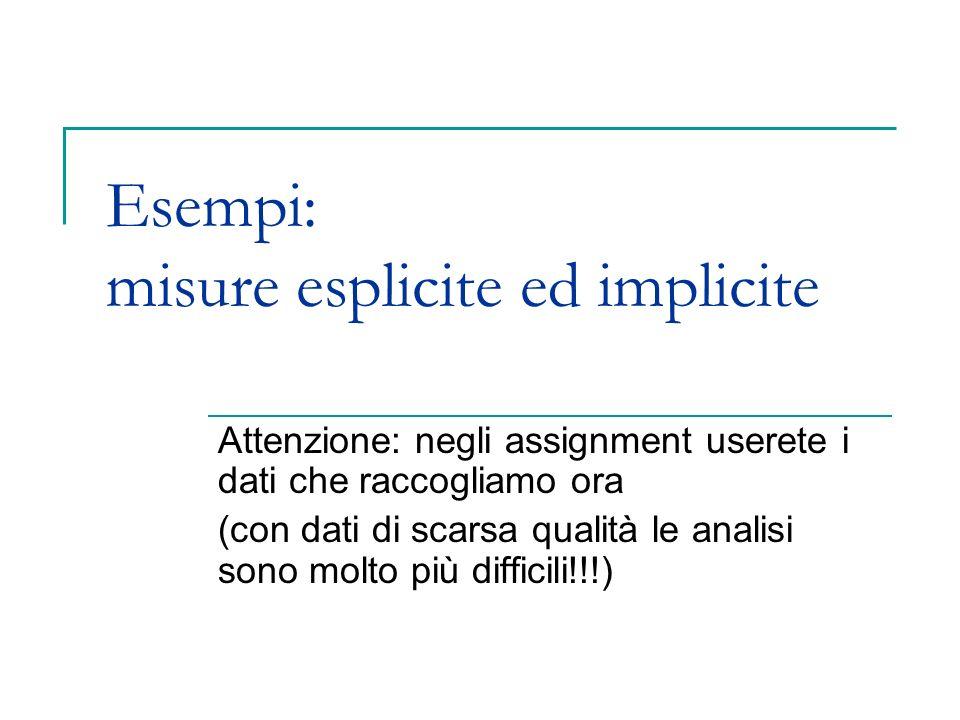 Esempi: misure esplicite ed implicite
