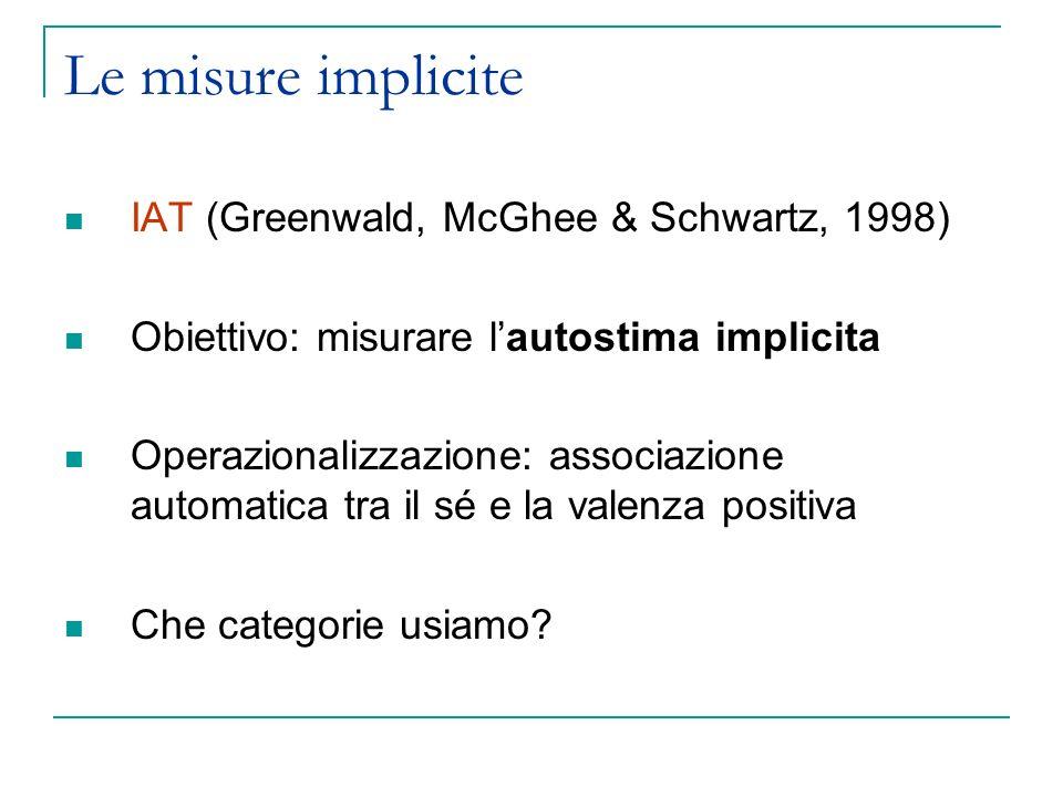 Le misure implicite IAT (Greenwald, McGhee & Schwartz, 1998)