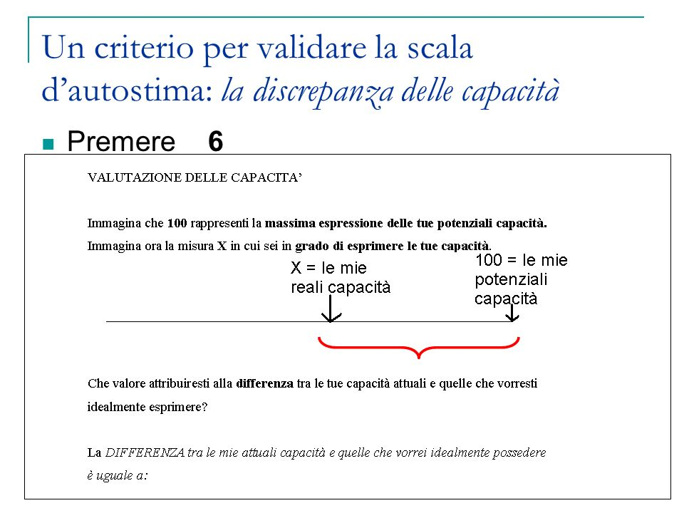 Un criterio per validare la scala d'autostima: la discrepanza delle capacità